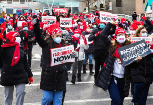Nurses strike Dec. 1-2 at Montefiore hospital in New Rochelle, New York. Bosses refuse to hire more nurses, meaning there isn't enough staff to provide needed health care during pandemic.