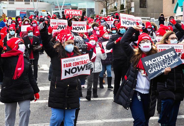 Huelga de enfermeras el 1-2 de dic. en hospital Montefiore en New Rochelle, Nueva York. Patrones rehúsan emplear a más enfermeras, por lo que no pueden brindar cuidado apropiado.