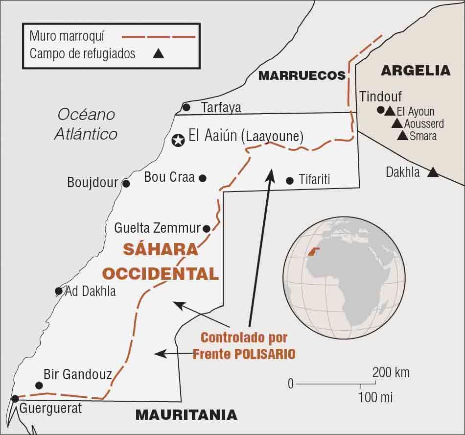 El régimen monárquico de Marruecos construyó un muro para aislar al pueblo saharaui.