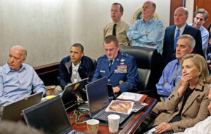 Joe Biden, left, with Barack Obama and other officials, including Secretary of State nominee Antony Blinken, back right, in White House war room during 2011 U.S.-organized assassination of Osama bin Laden.
