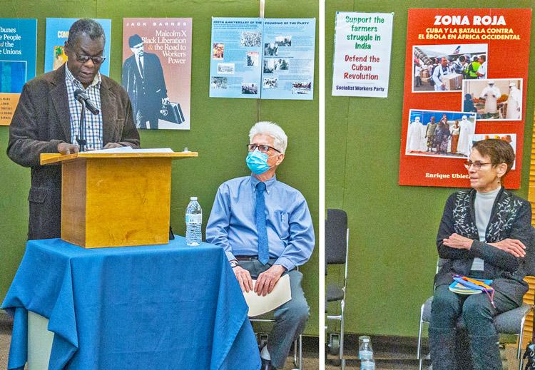 Desde la izq., Pedro Luis Pedroso, embajador cubano ante la ONU, Dave Prince y Mary-Alice Waters, del Comité Nacional del Partido Socialista de los Trabajadores, en celebración del 62 aniversario de la Revolución Cubana el 9 de enero en Nueva York.