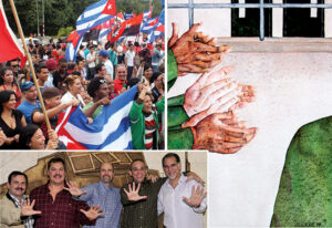 "Above right, ""The Jury's Verdict"" by Antonio Guerrero depicts fellow prisoners loudly applauding Cuban Five on their return after they were convicted, which he called ""the first act of solidarity with our cause."" Above left, Cubans in Holguín celebrate release of remaining members of the Five. Below, from left, Fernando González, Ramón Labañino, Gerardo Hernández, Antonio Guerrero and René González reunited in Havana, Dec. 17, 2014."