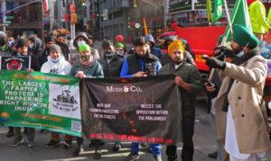 Protesta en Times Square en Nueva York en solidaridad con agricultores en India, 9 de enero.