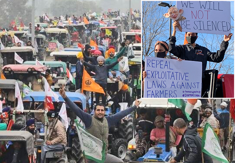 Indian farmers in tractorcade outside New Delhi Jan. 7 protest new laws that would end government-guaranteed price supports. Inset, support action in Yuba City, California, Jan. 16.
