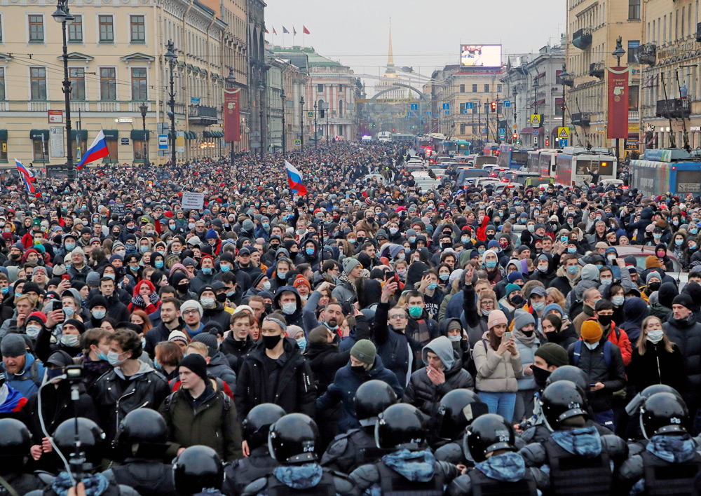 Protesters in over 100 Russian cities Jan. 23, including St. Petersburg, above, demand freedom for opposition leader Alexei Navalny, protest growing repression by regime of Vladimir Putin.