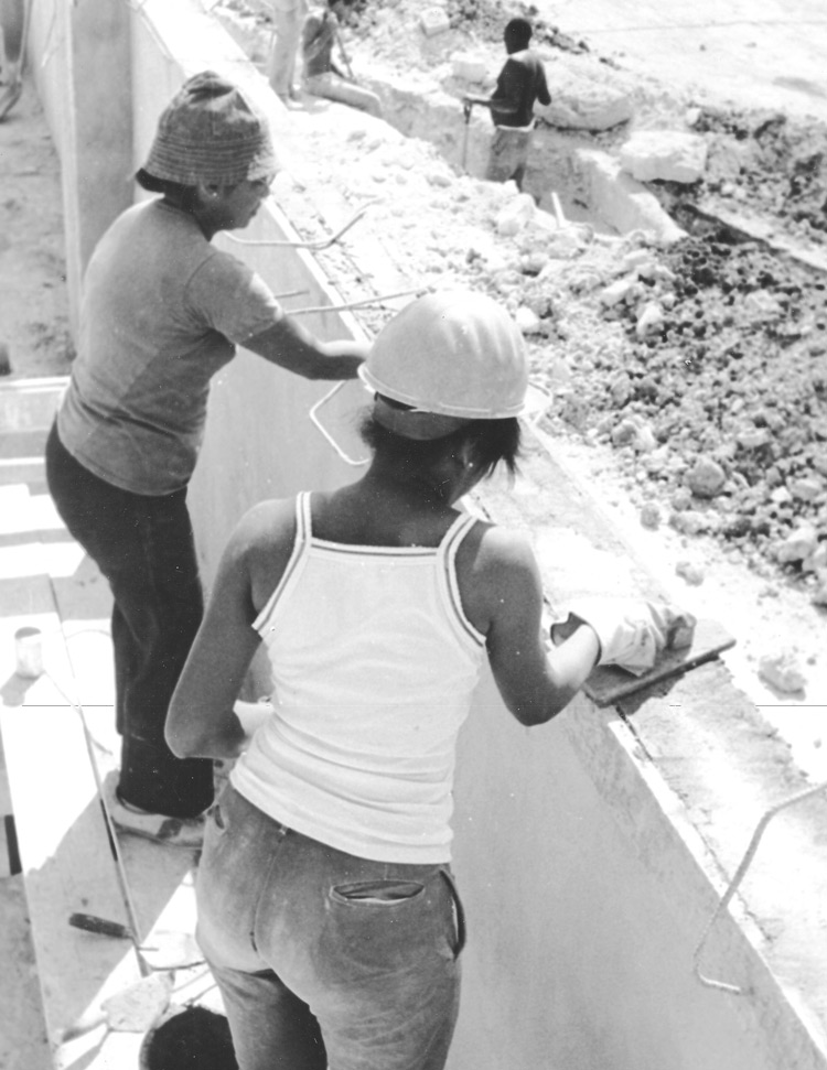 Cuban women in construction minibrigade in 1988, part of rectification process, as workers from workplaces and communities took part in voluntary labor. They built 100 child care centers in Havana in two years instead of a bureaucratic plan for less than one a year. Rectification ended as tighter U.S. embargo exacerbated shortages.