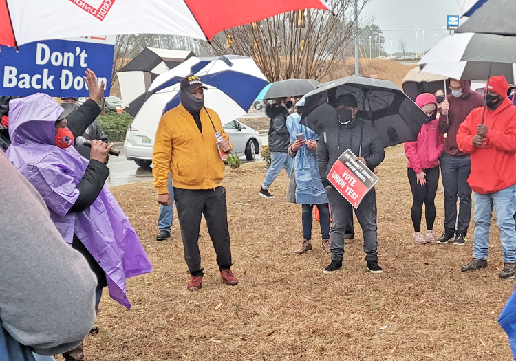 """Over 100 Amazon workers, unionists and supporters rallied Feb. 6 to back their fight for a union at the company's huge fulfillment center in Bessemer, Alabama. """"It's our time"""" for a union, Amazon worker Jennifer Bates told crowd, """"not just here, but in all the United States."""""""
