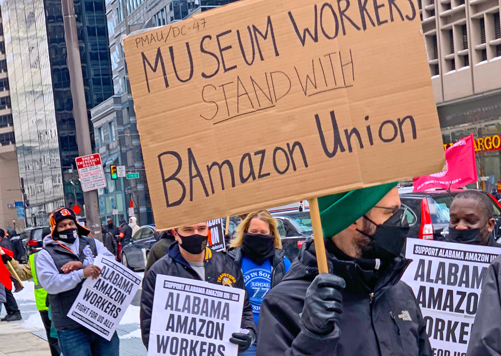 Workers who recently won a union at the Philadelphia Museum of Art joined Feb. 20 Philadelphia action in solidarity with Amazon workers fighting for union representation in Alabama.
