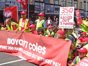 Rally in Sydney Dec. 12 protests lockout by Coles warehouse bosses of 350 members of United Workers Union. They're fighting for better severance pay and end to bosses' threats.