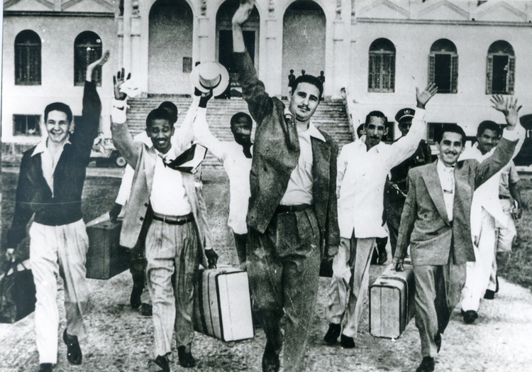 Fidel Castro, center, leads revolutionary combatants released from prison May 15, 1955. They had been jailed for starting Cuban Revolution with their attack on Moncada Barracks.