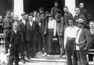 V.I. Lenin, leader of 1917 Bolshevik Revolution, front left, during Second Congress of Communist International, July 19, 1920, led fight for right of oppressed nationalities to self-determination.