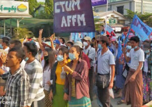 Thousands of farmworkers and farmers march in Hlegu Township Feb. 22, first day of nationwide general strike against military coup. Huge protest actions took place across the country.