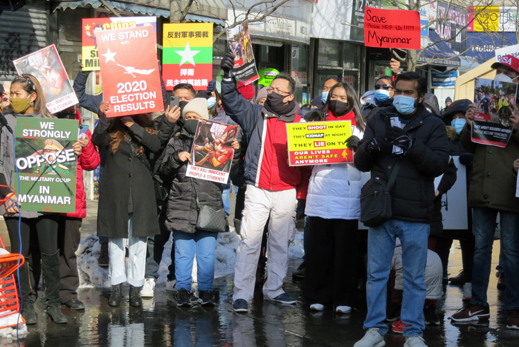 NY solidarity action: 'Down with military gov't'