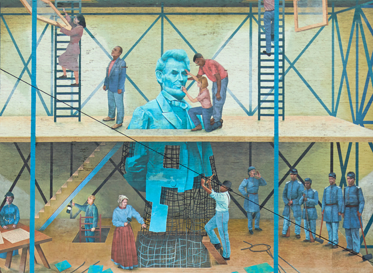 "Partial view of mural ""People's Progression Toward Equality,"" painted by Jared Bader in downtown Philadelphia. Mural portrays war to end slavery and postwar fight for equal rights for former slaves. Abraham Lincoln, center, played key role in this second American Revolution."