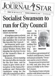 Feb. 23 article in Lincoln Journal Star reports on launching of campaign of SWP candidate Joe Swanson.