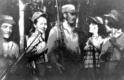 Meeting of Cuban revolutionaries, 1957. Central leader Fidel Castro (middle), flanked by Haydée Santamaría and Celia Sánchez (right), Ciro Redondo and Vilma Espín (left). From Women in Cuba: The Making of a Revolution Within the Revolution by Espín and others.
