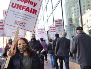 Protest in Boston March 23 demanding hotel bosses recall workers they have laid off during COVID-19 pandemic. Nonunion Marriott Copley is one of hundreds of hotels across the country that have thrown large numbers of workers out on the street over the last year.