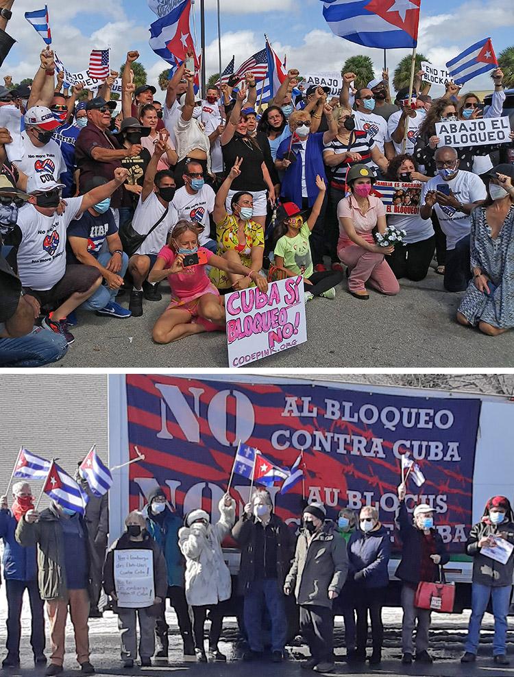 Feb. 28 rallies in Miami, top, and Montreal, bottom, protest Washington's economic embargo against Cuba, demand Washington return Guantánamo military base to Cuban people.