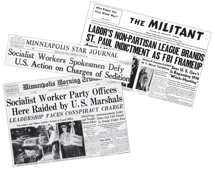 Covers of Militant from Aug. 2, 1941, above, as well as of Minneapolis Star Journal, above left, and Minneapolis Morning Tribune, left, both from June 28, 1941. U.S. rulers use FBI, their political police, to target and try to frame up vanguard workers. Special targets were leaders of Socialist Workers Party, Minneapolis Teamsters union leading labor opposition to Washington's entry into second imperialist war.