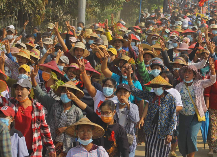 March 10 protest in Katha, farm town of 27,000 on border of Kachin and Shan ethnic regions, part of Myanmar-wide strikes and protests demanding end to military junta's seizure of power.