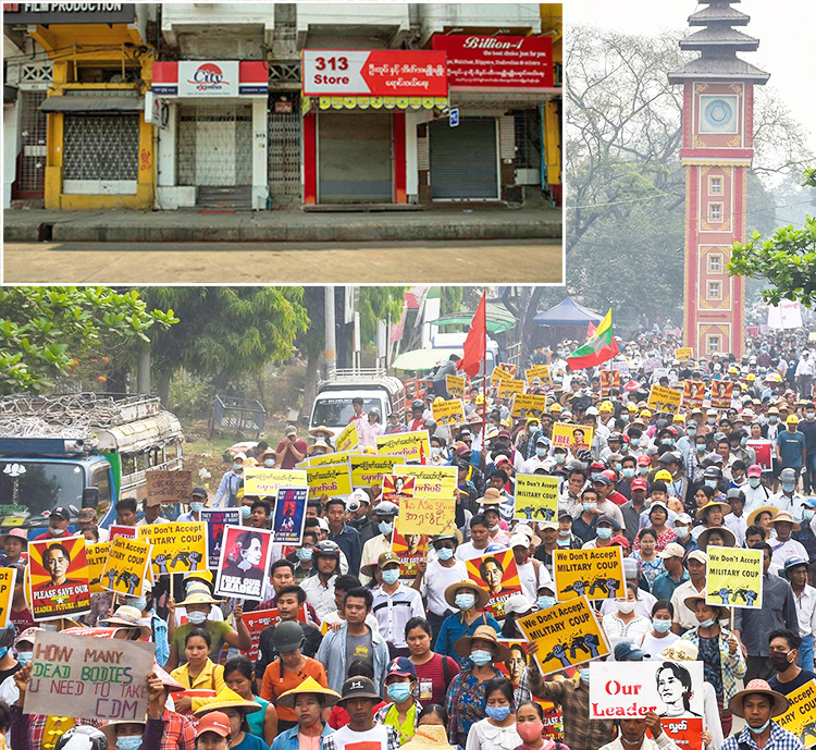 """Workers, students, Buddhist monks in Ye-U in Myanmar's Sagaing region protest March 22. Inset, deserted streets of Yangon during March 24 """"silent strike,"""" day before national protest called against military rule. """"Strongest storm comes after the silence,"""" said protest leader."""