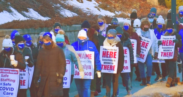Hundreds of members of Massachusetts Nurses Association picket St. Vincent Hospital in Worcester March 8 as strike began over understaffing and unsafe working conditions.