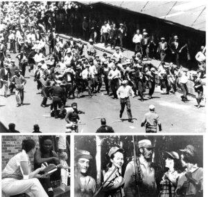 Arriba, del libro Rebelión Teamster de Farrell Dobbs: Los trabajadores se defienden exitosamente de ataque policiaco durante la huelga de los Teamsters de 1934 que convirtió a Minneapolis en ciudad pro unión y comenzó la sindicalización de toda la región. Abajo, izquierda, campaña del PST para ganar lectores al Militante y presentarles libros con lecciones de más de 200 años de lucha de cla-ses. Abajo derecha, del libro Las mujeres en Cuba: Haciendo una revolución dentro de la revolución. Dirigente central de la Revolución Cubana, Fidel Castro (al centro), flanqueado por Haydée Santama-ría y Celia Sánchez (a la derecha), y Ciro Redondo y Vilma Espín (a la izquierda) en reunión de revo-lucionarios cubanos en 1957.