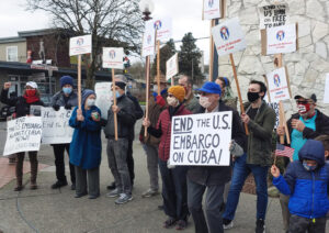 Feb. 28 rally in Seattle, one of actions in seven cities in U.S. and Canada, protest U.S. embargo of Cuba. For more than 60 years Washington has tried to overthrow Cuban Revolution.