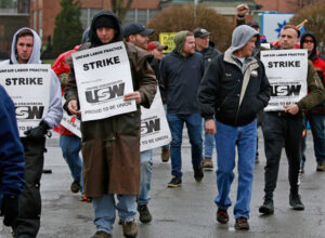 Steelworkers picket at ATI in Lockport, New York. Union members are on strike in five states.