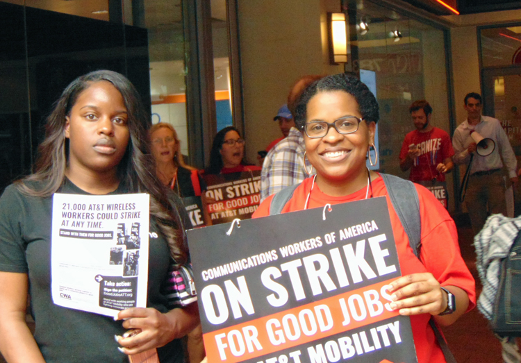 CWA strike picket at AT&T mobile phone center, Washington, D.C., May 19, 2017. Road to gains for working people will grow out of increasing reliance on independent working-class political action, not Democratic Party maneuvers to monopolize politics and keep us in tow.