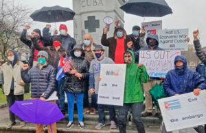 Rally in Albany, New York, March 28, by participants in car caravan against U.S. economic war against Cuba. Similar caravans and rallies took place in 16 U.S. cities and 60 countries.