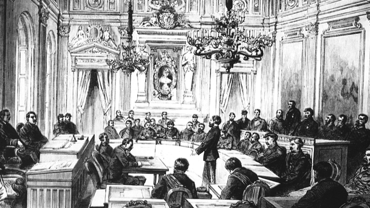 "Meeting of elected representatives of Paris Commune, which lasted for 72 days in 1871. Karl Marx called the Commune ""the glorious harbinger of a new society,"" where ""the proletariat for the first time held political power."" It showed the future, not just for France, but for working people worldwide."