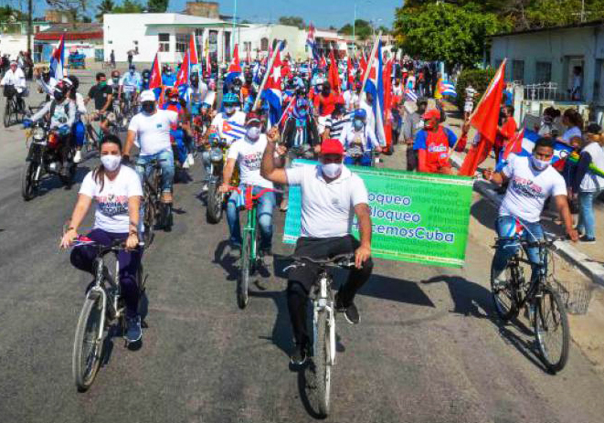 Participants from Las Tunas, Cuba, join worldwide April 25 caravans against the U.S. embargo.