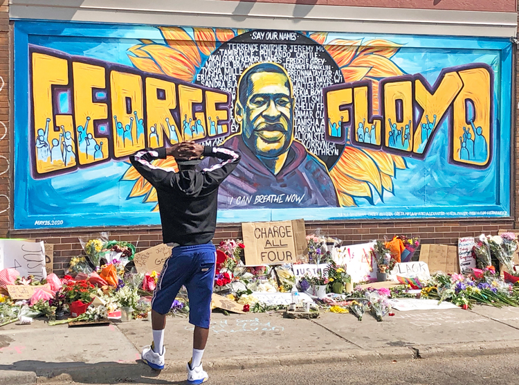 Mural in Minneapolis near where George Floyd was killed. Millions of working people and youth — of all skin colors — joined protests after his death, demanding prosecution of cops.