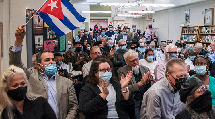 Some 105 people at April 18 meeting in New York Socialist Workers Party hall celebrate Cuban revolution's 1961 victory at Bay of Pigs; popular, proletarian campaign to end illiteracy; and example for U.S. workers.