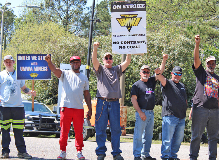 "Picket line in Brookwood, Alabama, of miners on strike against Warrior Met Coal. Miner Mike Wright told WVUA TV, ""We basically want to let the company know: No contract, no coal."""