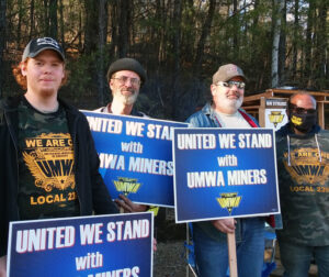 United Mine Workers of America Local 2397 members on picket line at Warrior Met mine No. 7, April 2. At left is Tyler Bittle; right, Antwon McGee. Over 1,100 went on strike day before.