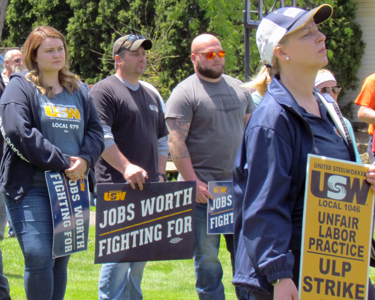 Steelworkers on strike against ATI and supporters rally May 15.