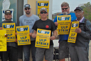April 28 picket line at ATI steel mill in Washington, Pennsylvania. Bosses want to force union to accept job losses to contract workers, deeper two-tier divisions, increase in insurance costs.
