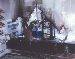 Socialist Workers campaign office in Hazleton, Pa., damaged by firebombing Sept. 11, 2004. Disclosure laws open workers, organizations to attacks by government, political opponents.