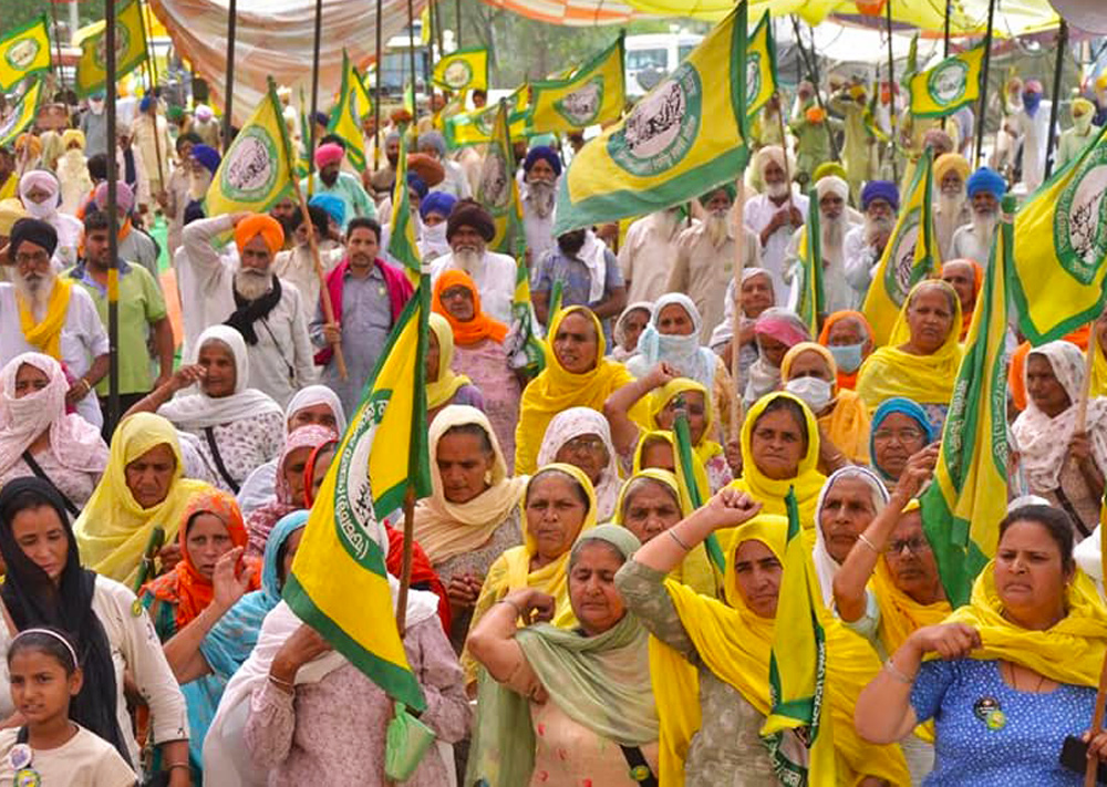 """May 12 protest on the outskirts of New Delhi by women participants in Indian farmers' movement. They called for more women to join the struggle against gov't's anti-farmer ''reforms."""""""