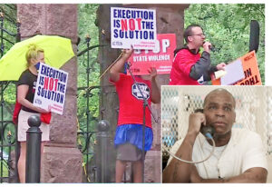 May 18 protest at governor's mansion in Austin, Texas, urging state grant Quintin Jones, inset, clemency, life in prison. Capitalist rulers use death penalty to intimidate working people.