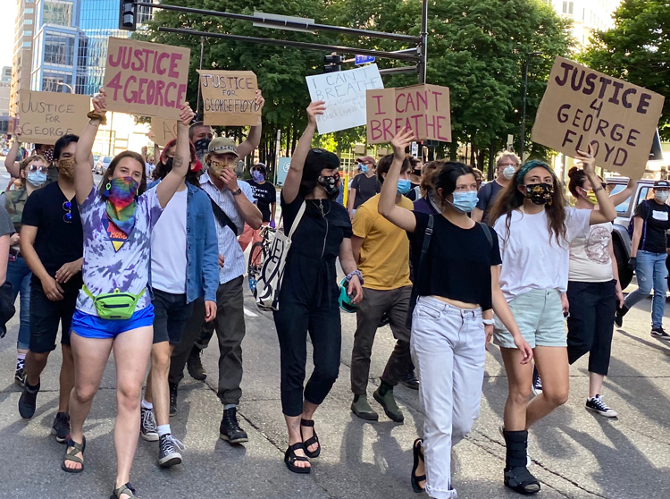 Demonstration in Minneapolis May 28, 2020, one of thousands in cities and towns, large and small, after death of George Floyd at hands of the police three days earlier.