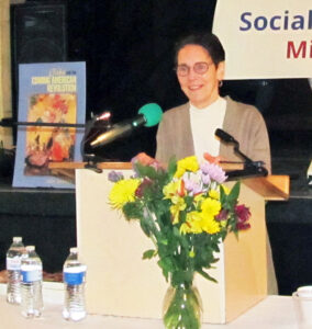 SWP National Committee member Mary-Alice Waters speaking at April 24 Midwest conference in Chicago.