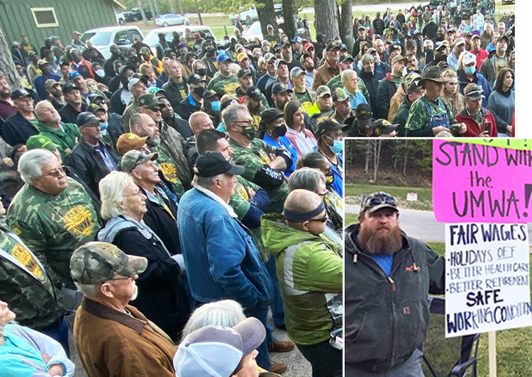 April 21 rally in McCalla, Alabama, to support mineworkers on strike for higher wages, safety, pensions against Warrior Met Coal. Right, picket line same day at mine entrance in Brookwood.