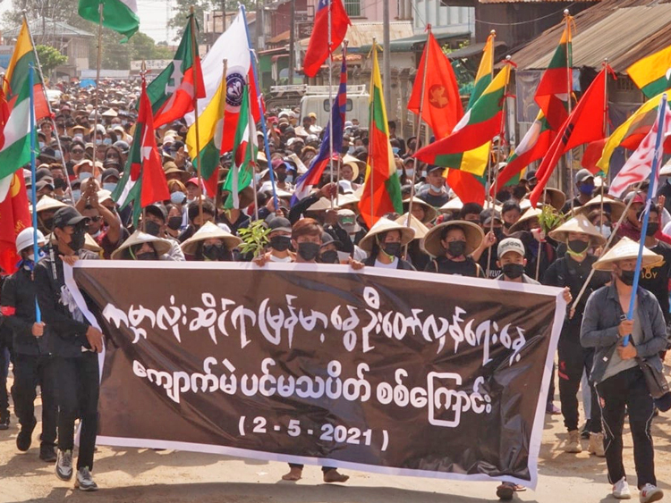 Thousands march in Kyaukme City in Myanmar's Shan state, part of May 2 nationwide Spring Revolution. Feb. 1 coup, imposition of military rule and growing repression against mass upsurge has brought workers, farmers, minority ethnic groups together in struggle.