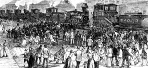 """Rail strikers blockade engines at Martinsburg, West Virginia, in 1877. Karl Marx called their strike """"the first uprising against the oligarchy of capital which had developed since the Civil War."""" The working class together with oppressed toilers who are Black and exploited farmers would be the class forces of revolution in the U.S., he said."""