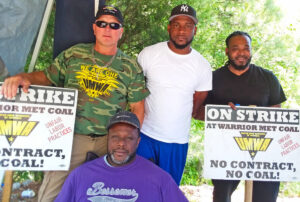 """Warrior Met No. 4 mine picket line, in Brookwood, Alabama, May 16. """"The company knows we're only asking for what they took from us in 2016,"""" striker Harold Young, at right, said."""