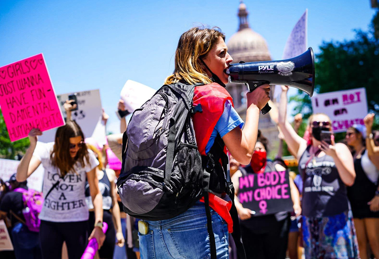 Rally at state Capitol in Austin, Texas, May 29, to protest law that would ban abortion at around six weeks of pregnancy, one of most restrictive in U.S. Marchers vowed to keep fighting.