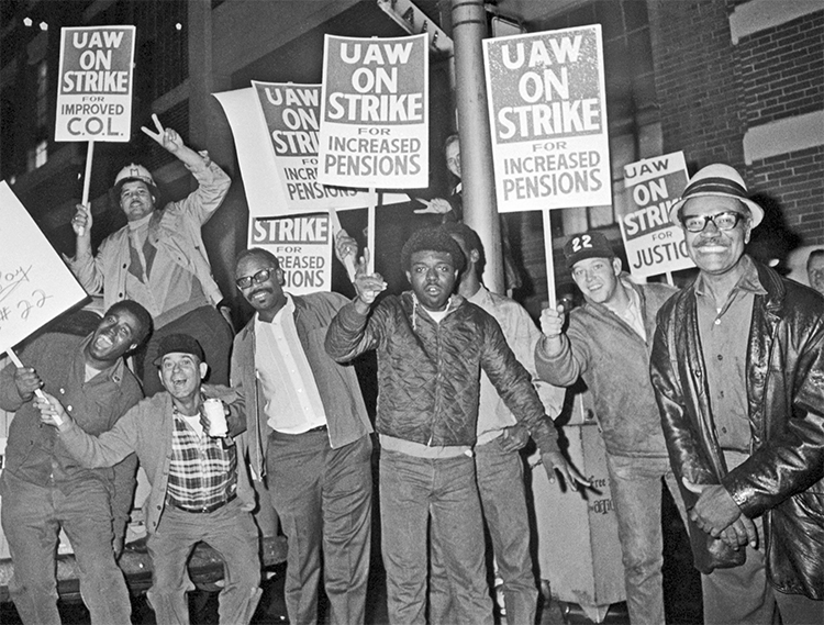 Autoworkers on strike at General Motors in Detroit picket Sept. 14, 1970, as inflation was ravaging paychecks. Strikers demanded improved cost-of-living pay increases to match price rises.